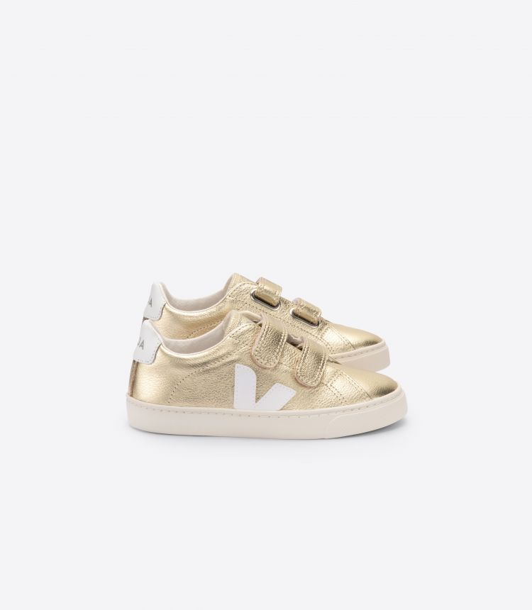 ESPLAR VELCRO LEATHER GOLD WHITE