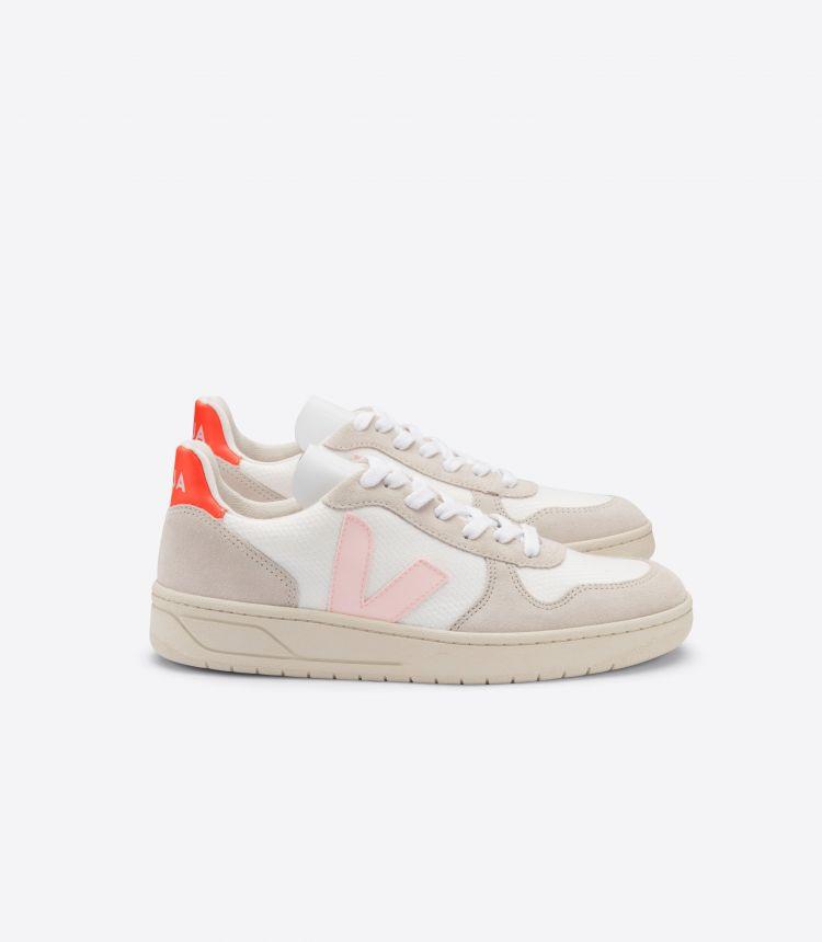 V-10 B-网布布 白色 粉红色 荧光橙