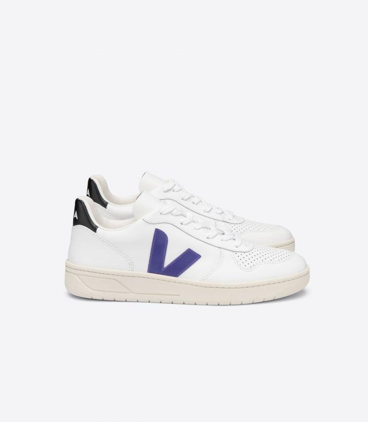 V-10 皮革 白色 紫色 黑色