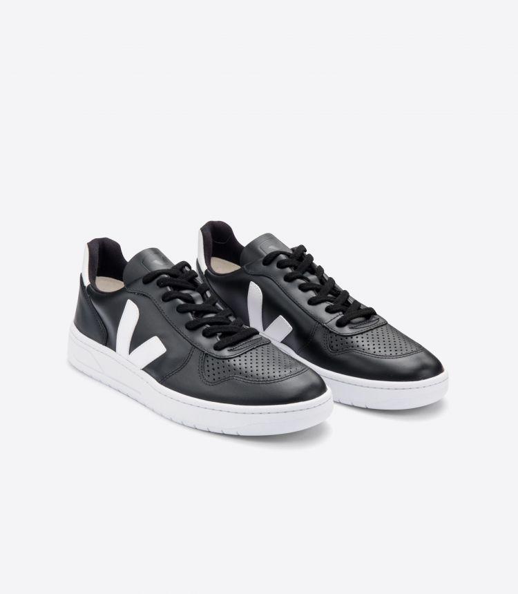 V-10 皮革 黑色白色白色鞋底