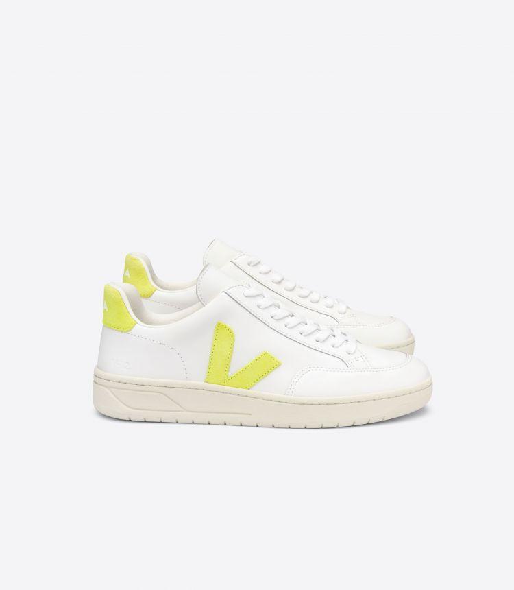 V-12 皮革 白色 荧光黄