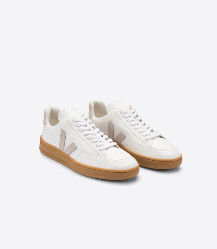 V-12皮革白色自然色棕色鞋底