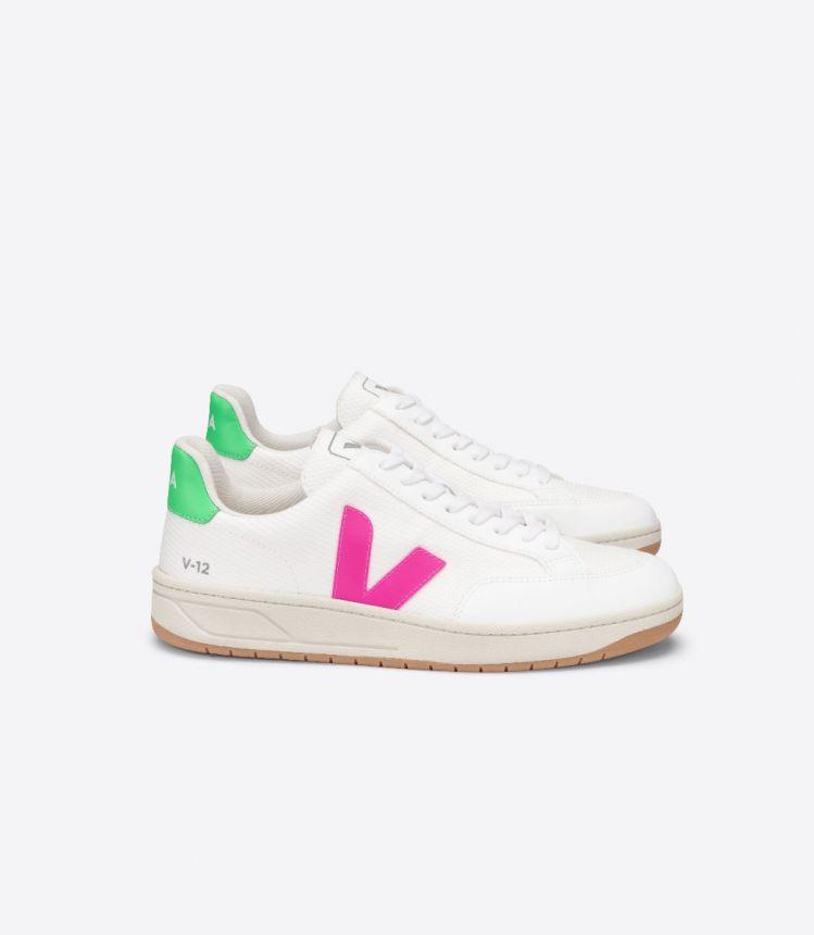 V-12 B-网布布 白色 荧光粉 浅绿色