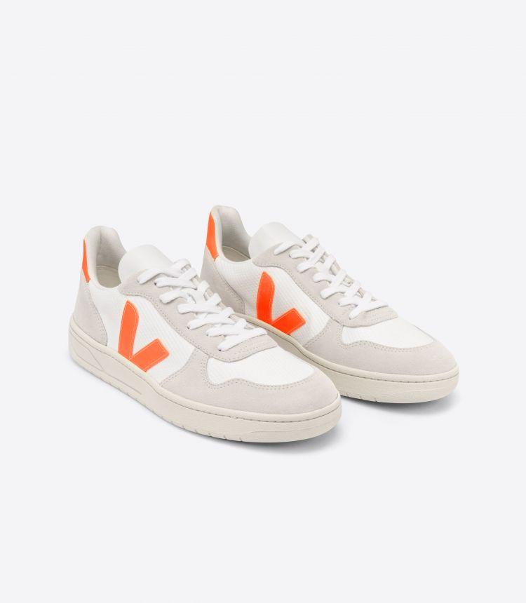 V-10 B-网布布 白色 自然色 荧光橙
