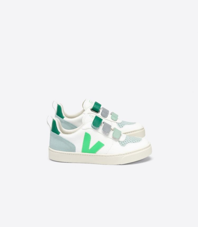 V-10 无铬皮革 白色 浅绿色